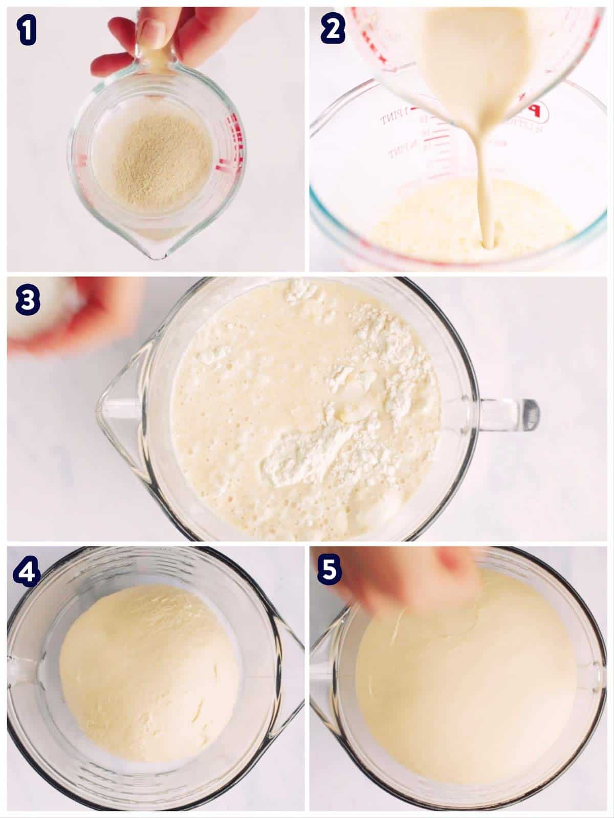 collage to show steps of making dinner roll dough