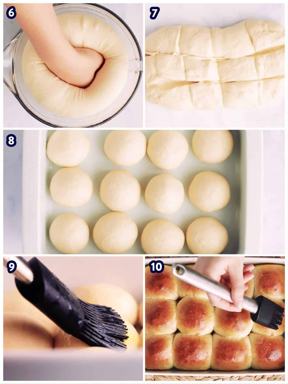 collage of steps to show shaping and baking dinner rolls