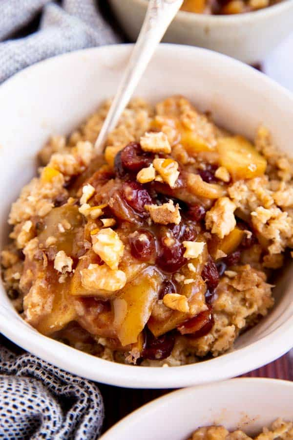 close up photo of bowl with apple oatmeal