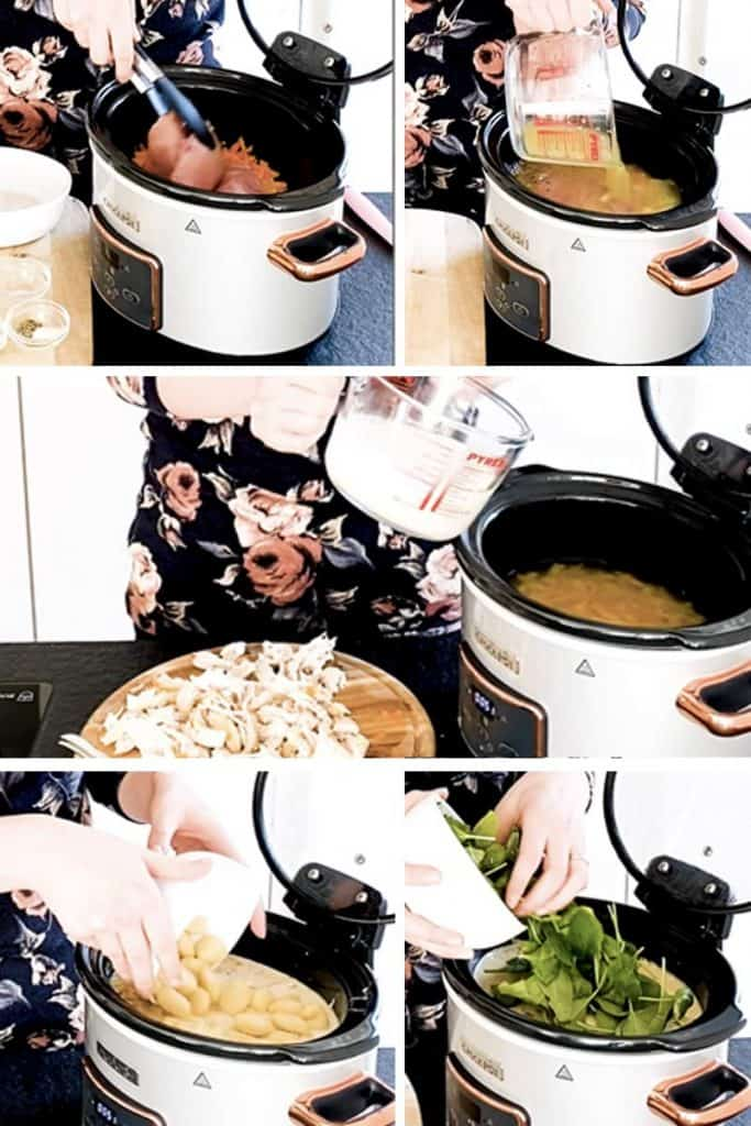 step by step photo collage for slow cooker chicken gnocchi soup
