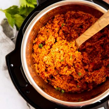 top down view on an instant pot filled with Mexican rice