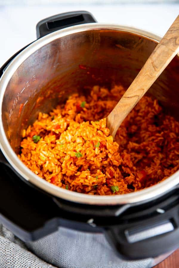 close up view of Mexican rice in pressure cooker