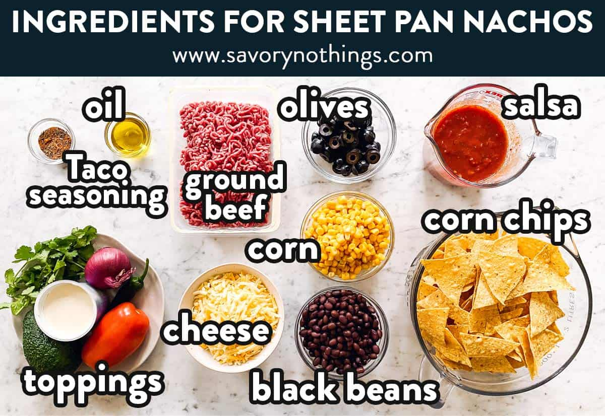 ingredients for sheet pan nachos with text labels