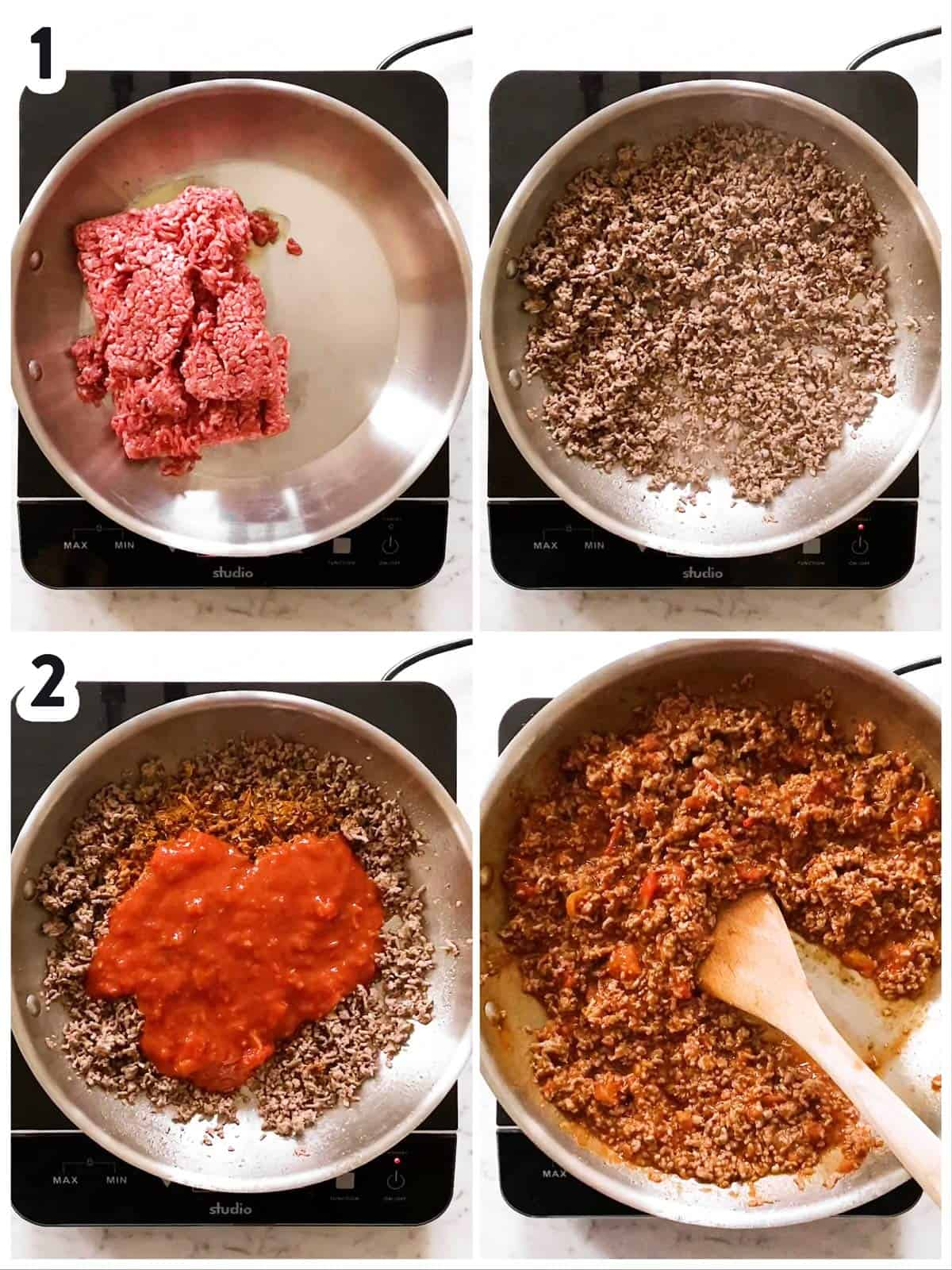 photo collage to show how to make beef mixture for nachos