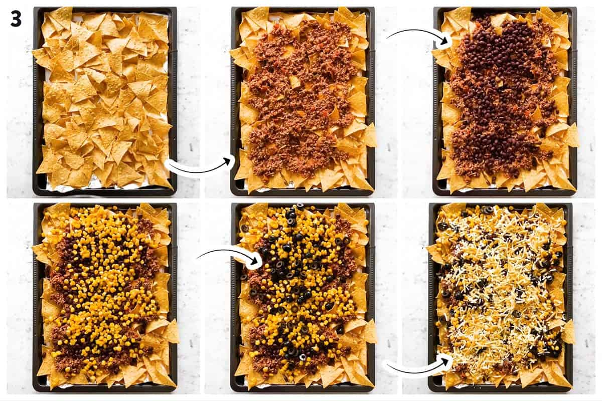 photo collage to show how to assemble sheet pan nachos