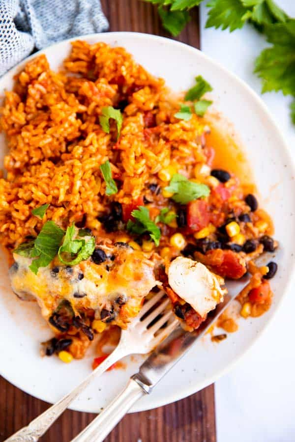 top down view on plate with Mexican rice and southwestern chicken