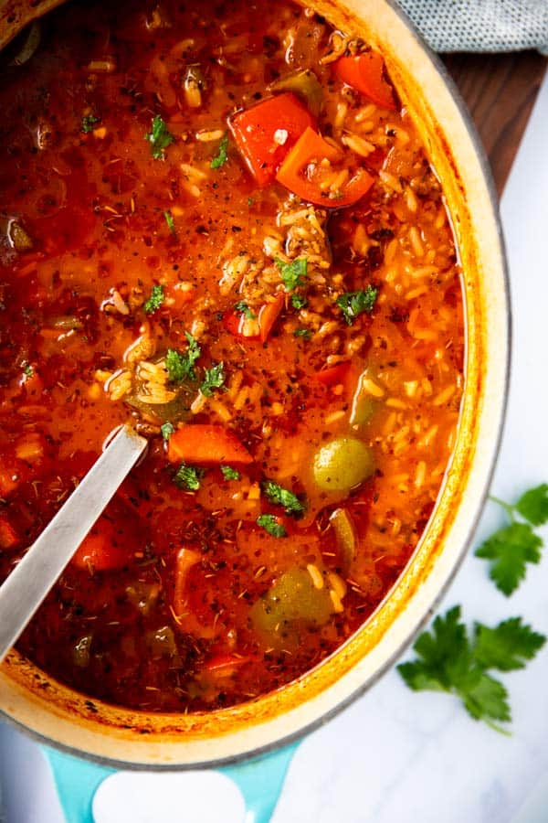close up photo of a pot with stuffed pepper soup