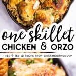 Mushroom Orzo and Chicken Skillet Image Pin