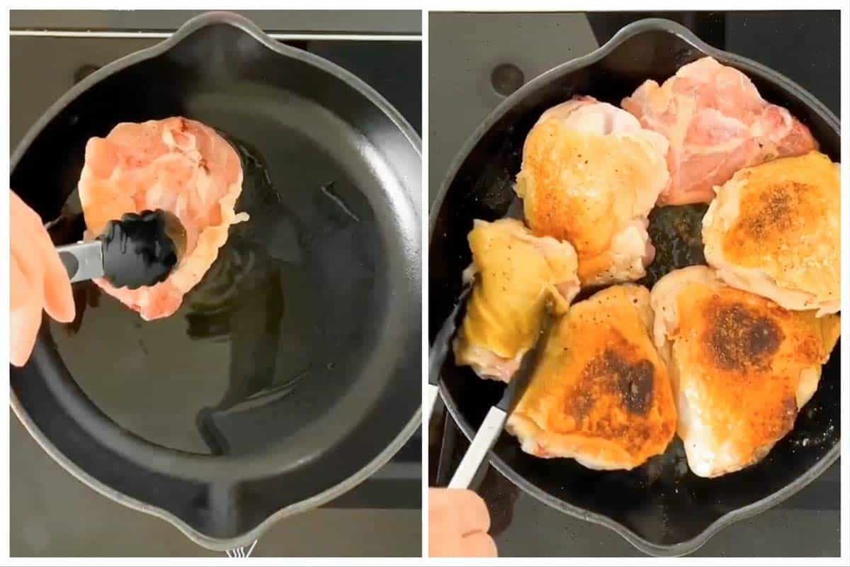 photo collage to show how to brown chicken thighs