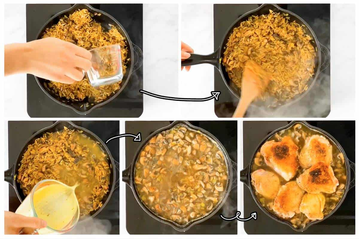 photo collage to show how to assemble chicken and mushroom orzo skillet