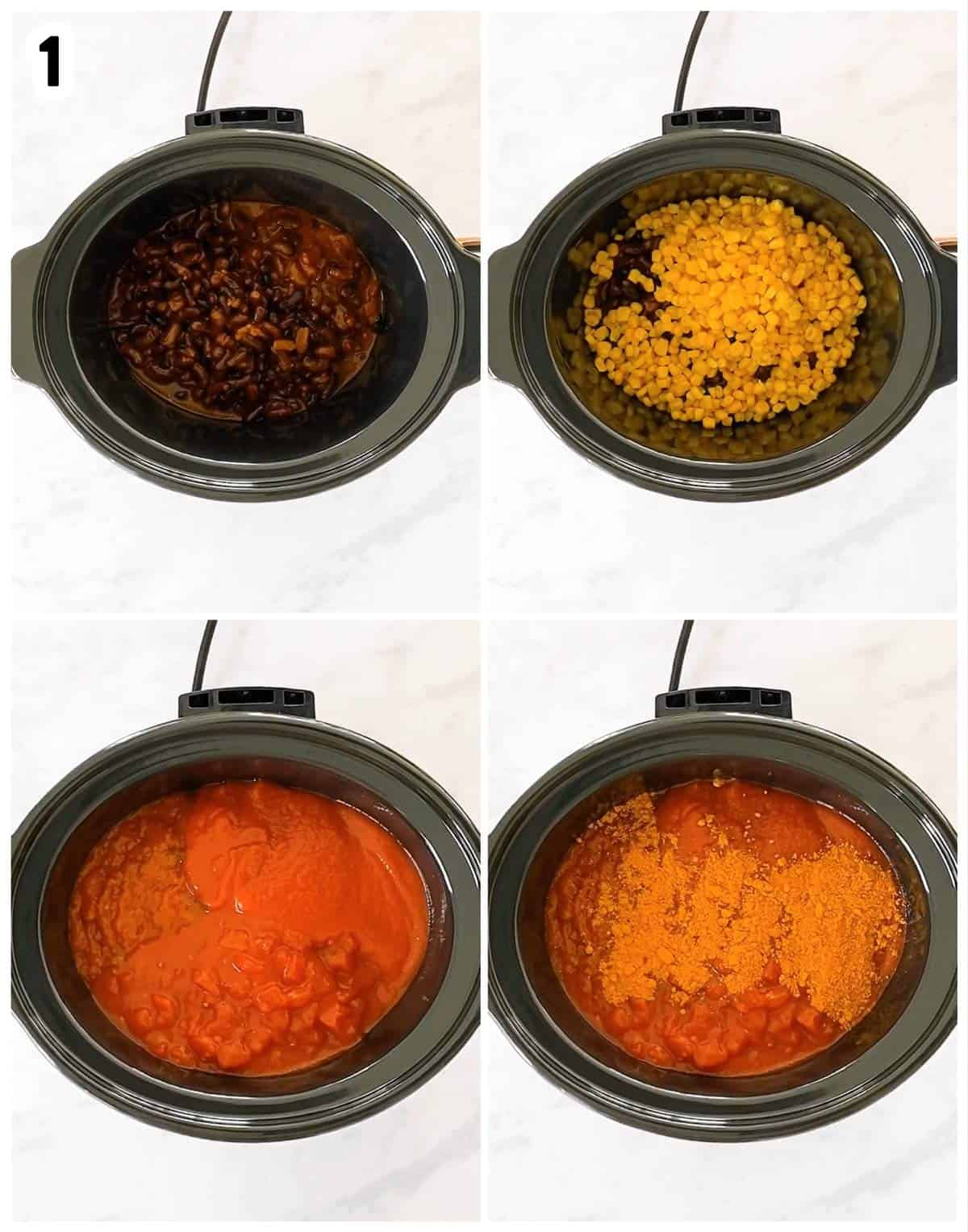 photo collage to show how to place ingredients for soup in slow cooker