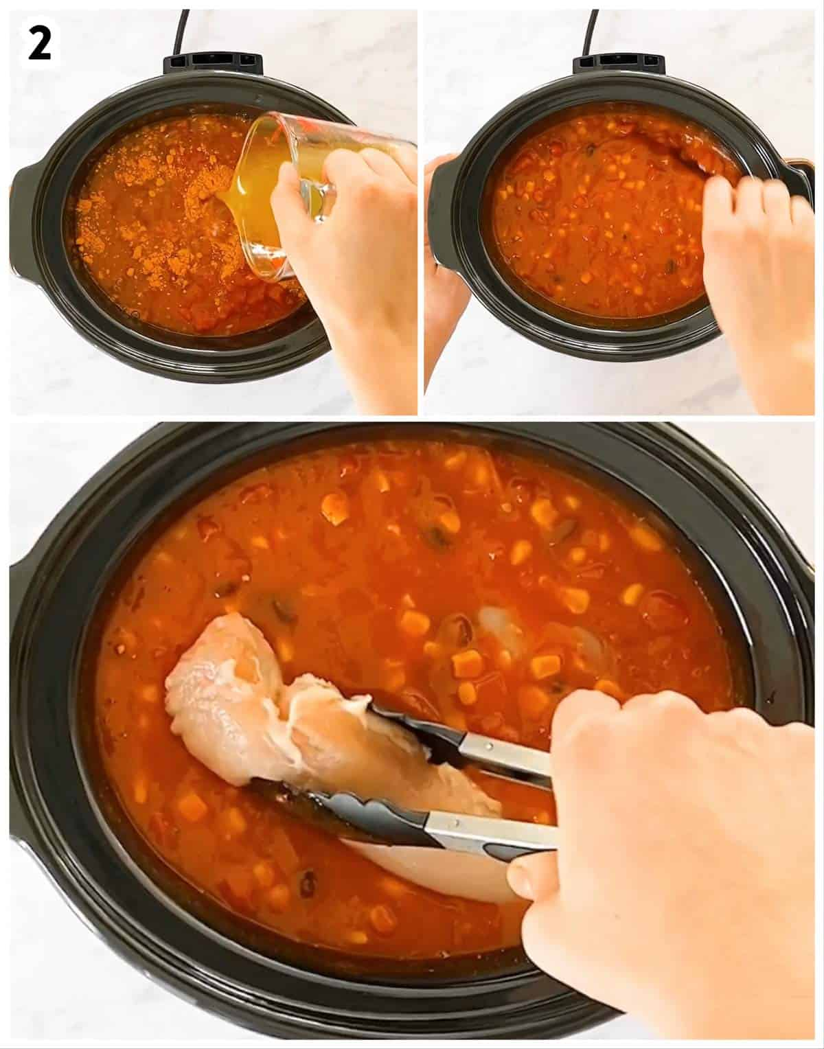 photo collage to show how to combine ingredients for chicken taco soup in slow cooker