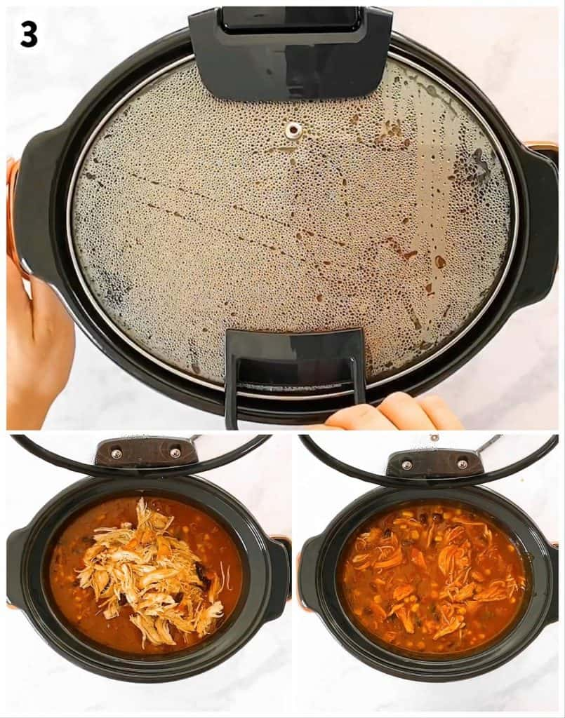 photo collage to show how to slow cook chicken taco soup