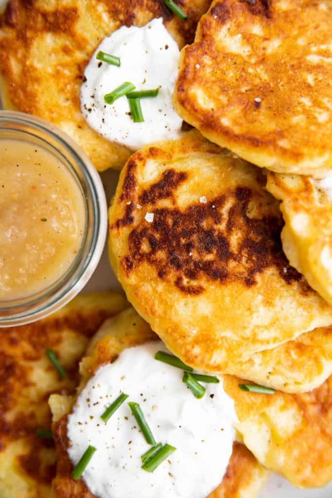 close up photo of Irish potato pancakes
