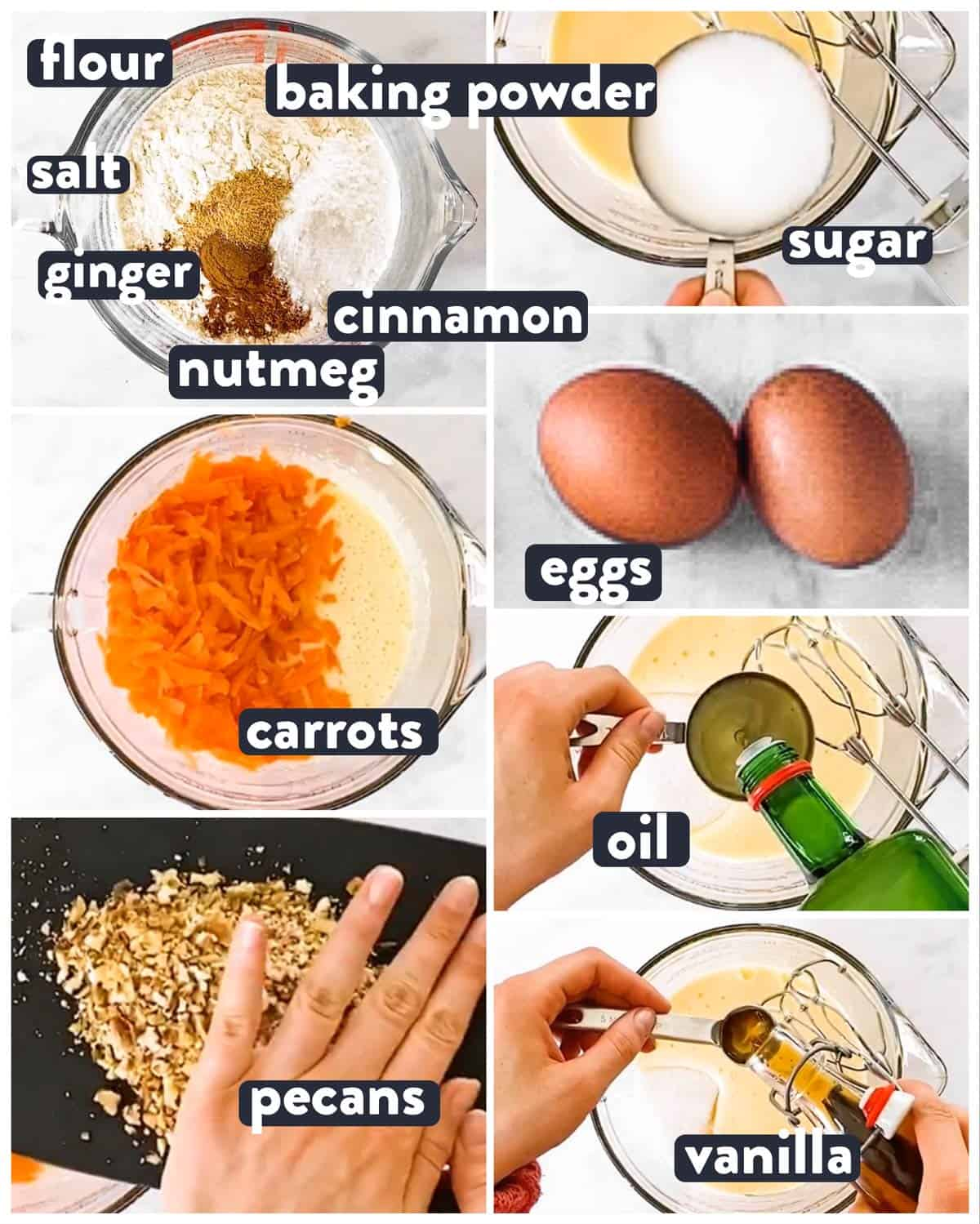 ingredients for carrot cake loaf with text labels