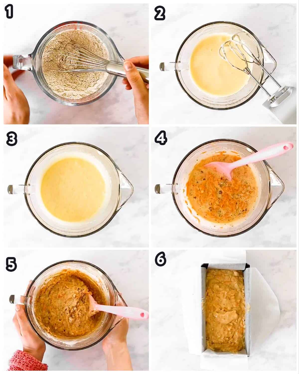 six photo collage to show how to make a carrot cake loaf
