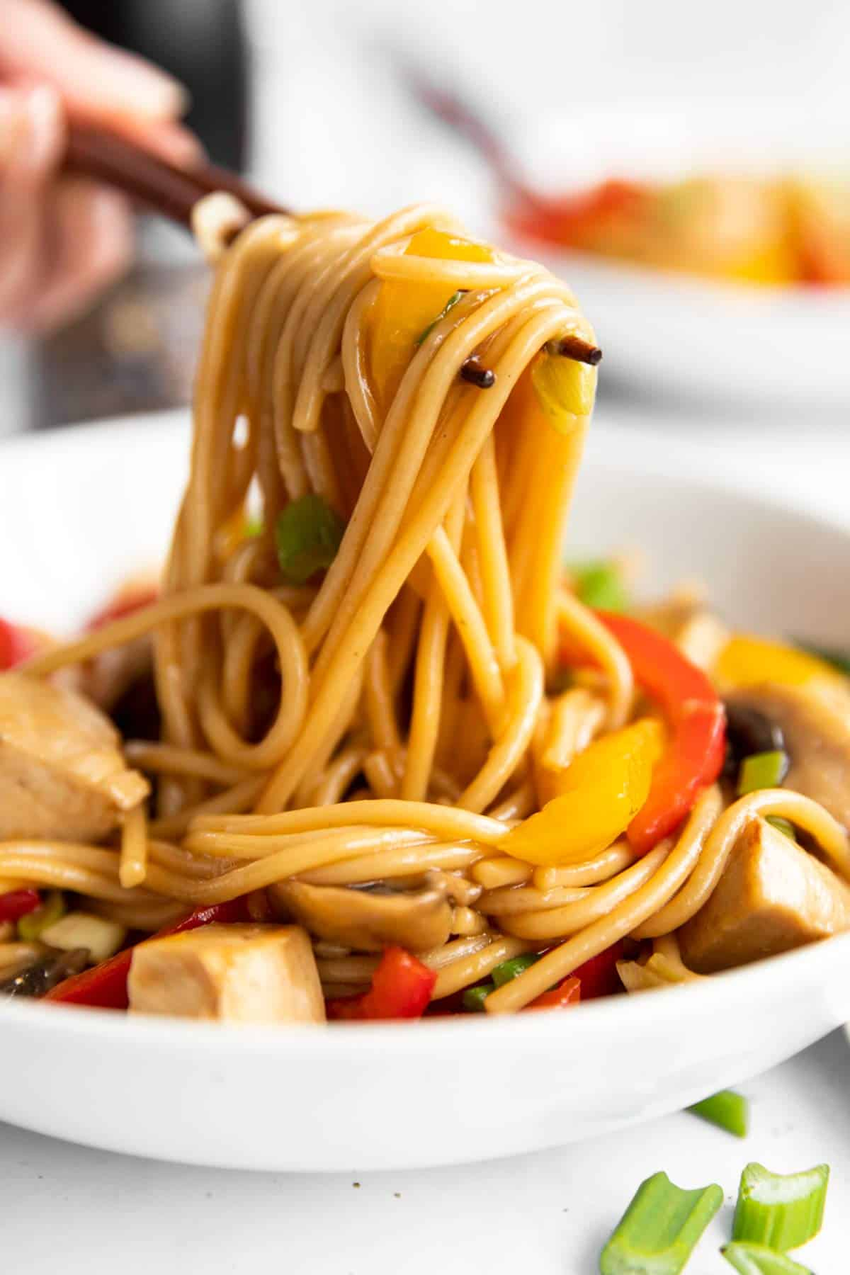 pile of noodles on a pair of chopsticks