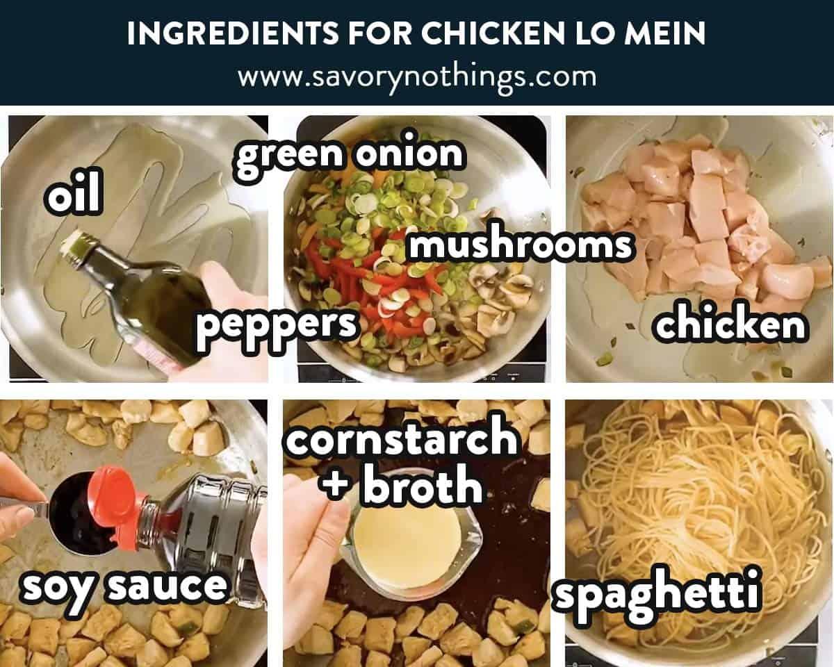 photo collage of chicken lo mein ingredients