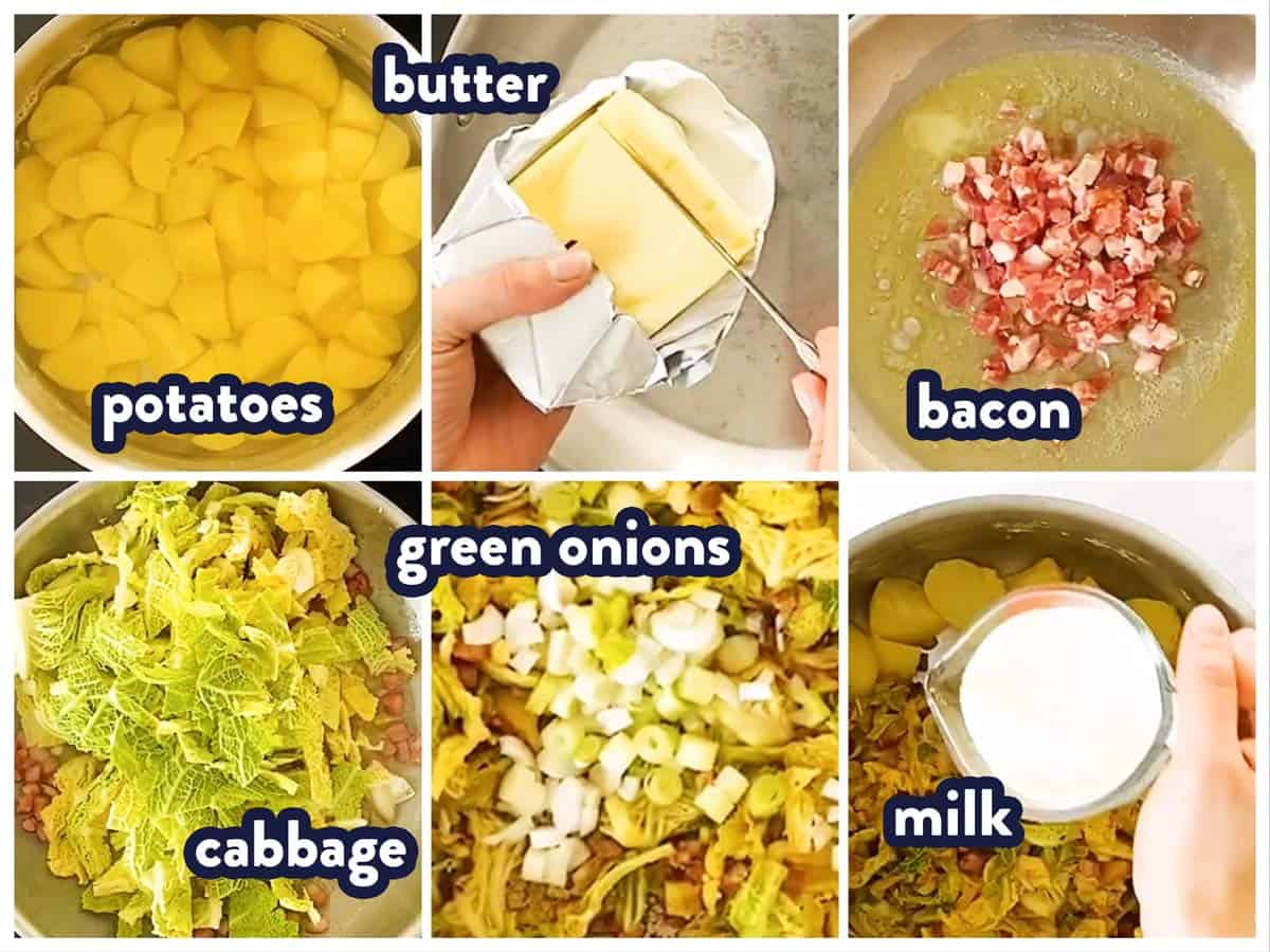 photo collage of ingredients for colcannon with text labels