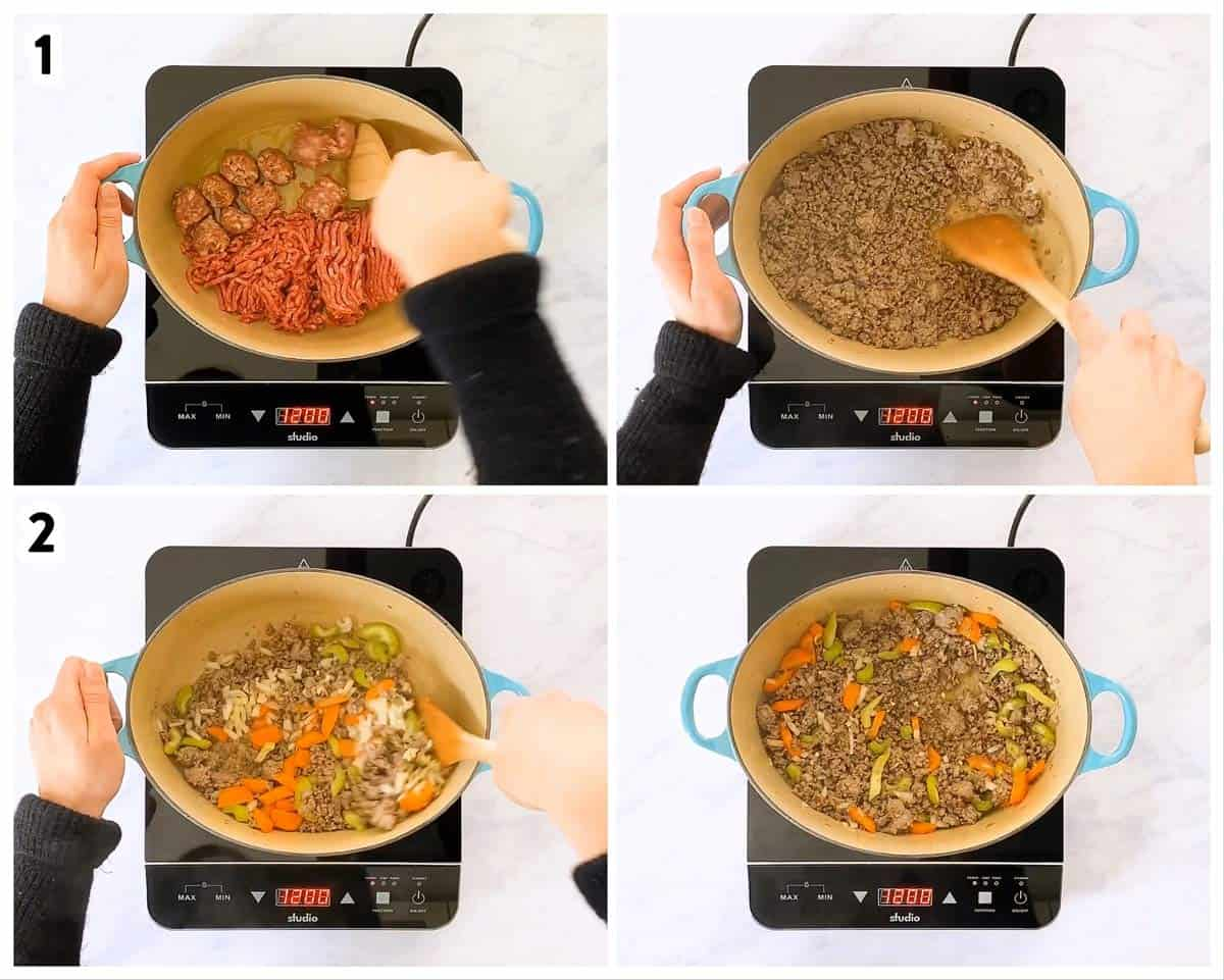 photo collage to show how to cook beef, sausage an vegetables for soup