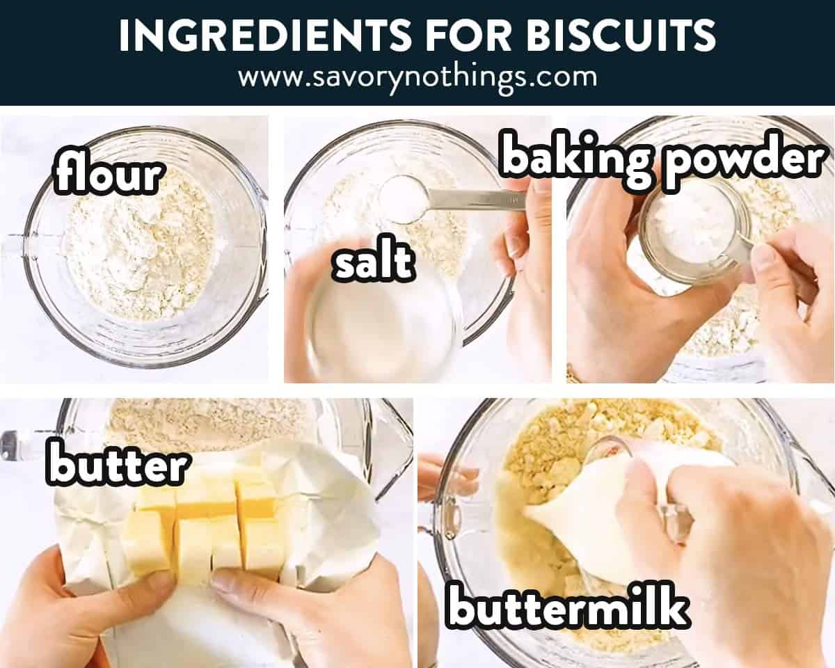 photo collage of biscuit ingredients
