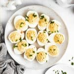 top down view on a plate filled with deviled eggs