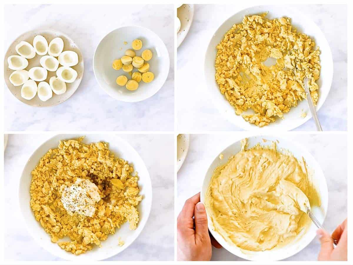 photo collage to show how to prepare filling for deviled eggs