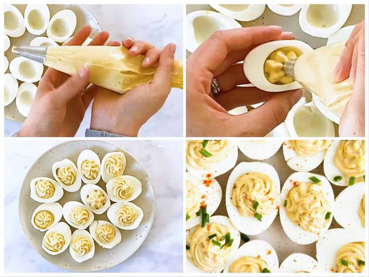 photo collage to show how to fill and garnish deviled eggs