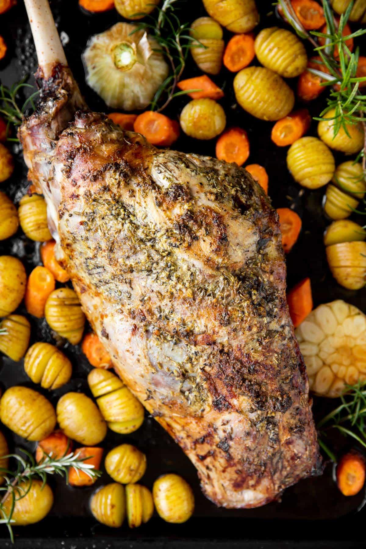 close up photo of roast leg of lamb