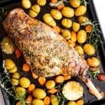top down view on roast leg of lamb