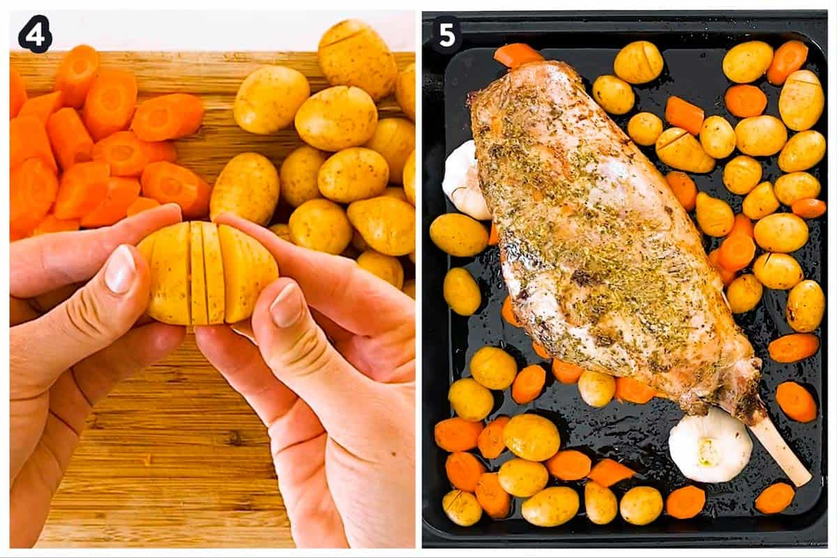 photo collage to show how to roast leg of lamb with carrots and potatoes