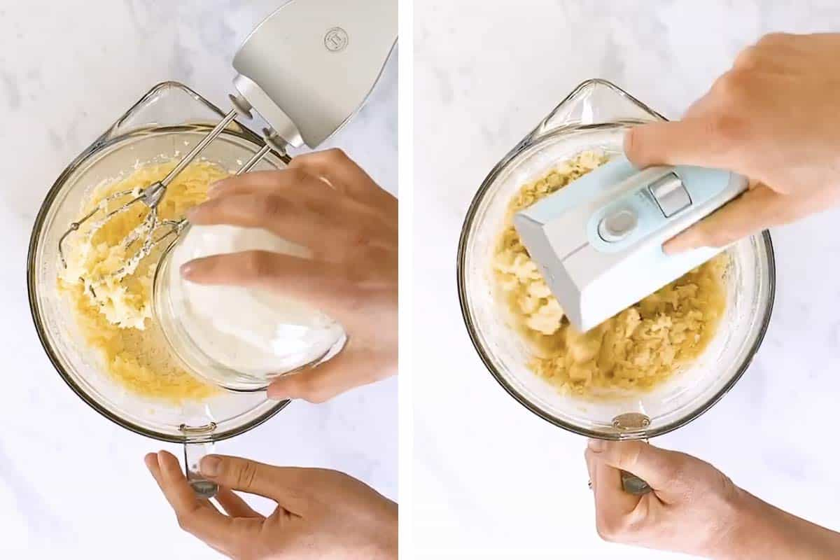 photo collage to show how to make shortbread cookie dough