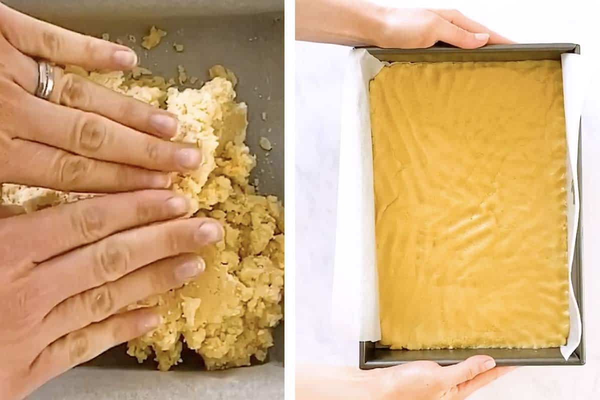 photo collage to show how to press shortbread cookie dough into cake pan