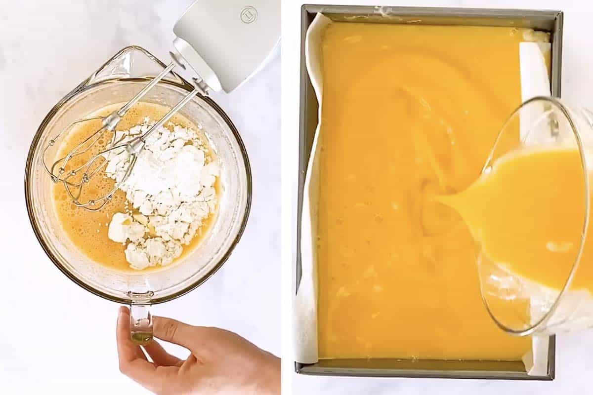 photo collage to show how to assemble lemon bars
