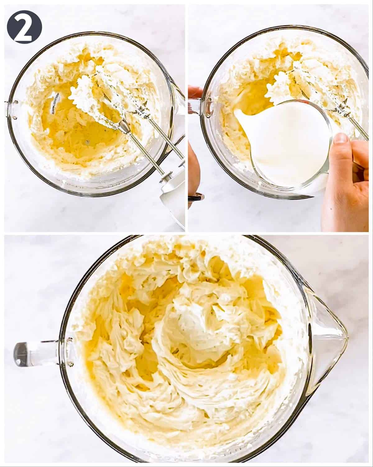 photo collage to show how to make no bake cheesecake filling