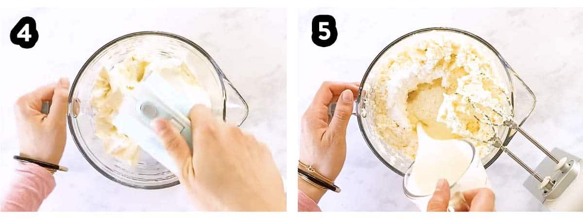 photo collage to show how to whip cream and cream cheese