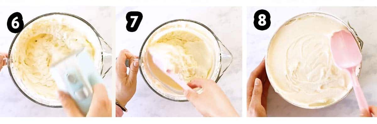 photo collage to show how to assemble a no bake cheesecake