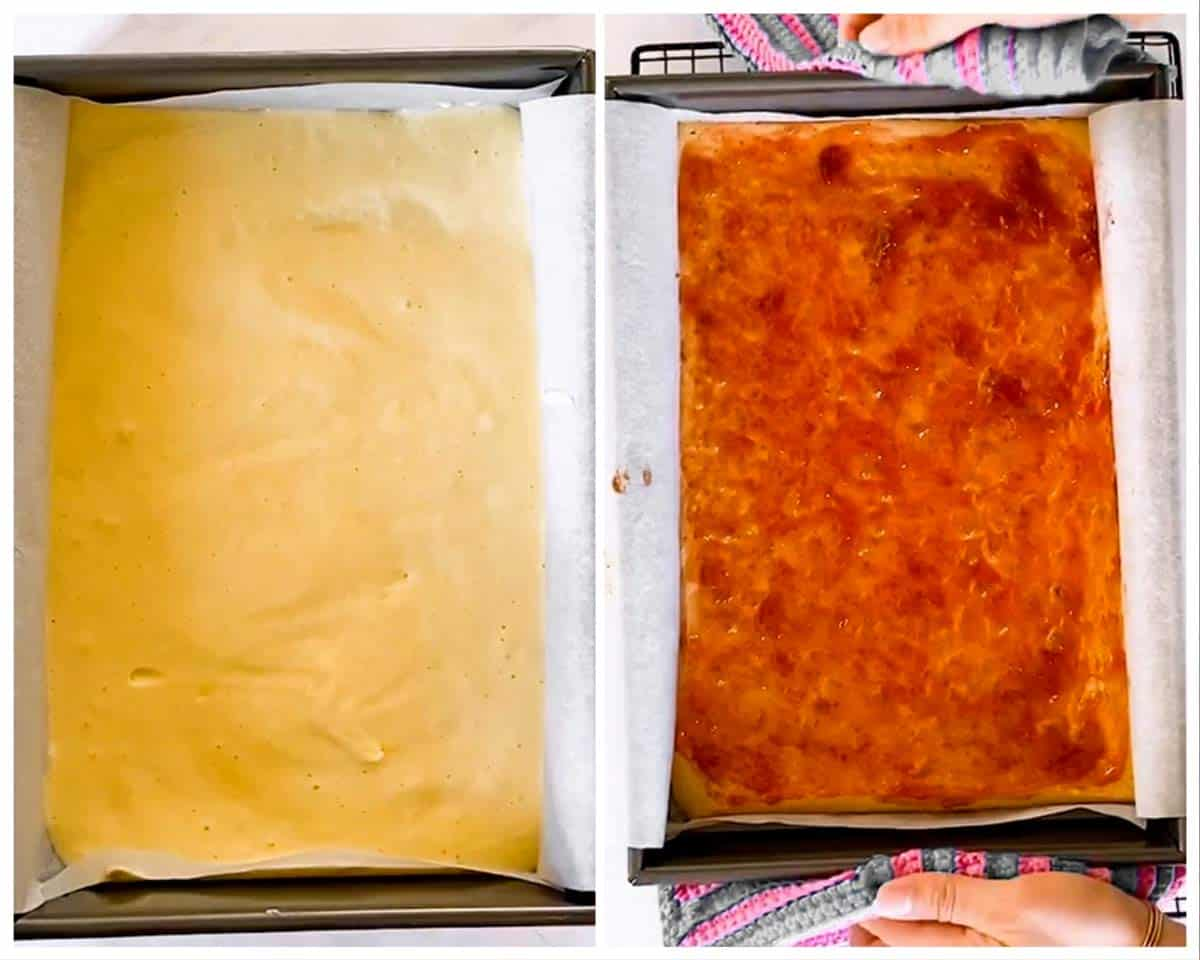 photo collage to show unbaked and baked yellow cake base