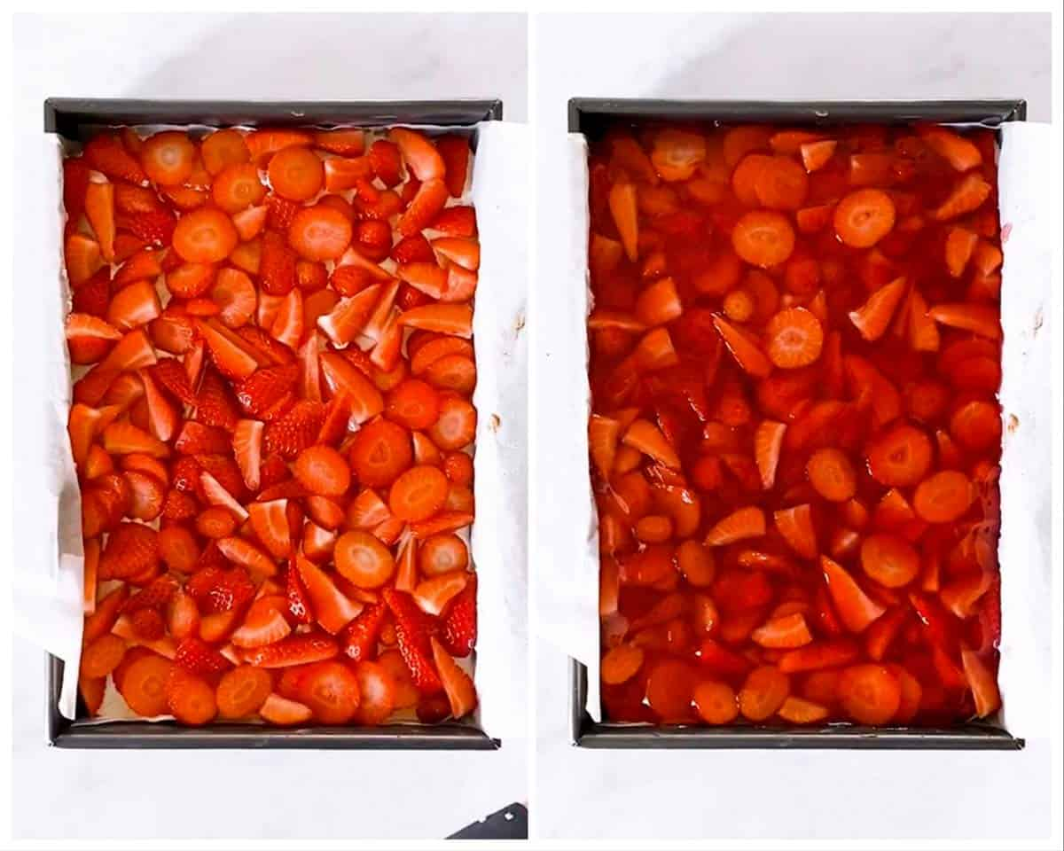 photo collage to show how to top cake with strawberries and strawberry jello