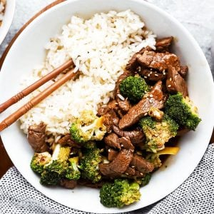 top down view on white plate with beef, broccoli and rice
