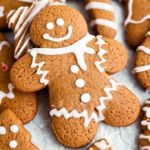 close up photo of decorated gingerbread man