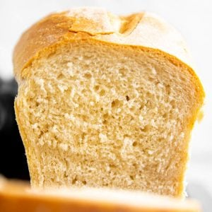 frontal view on sliced loaf of bread