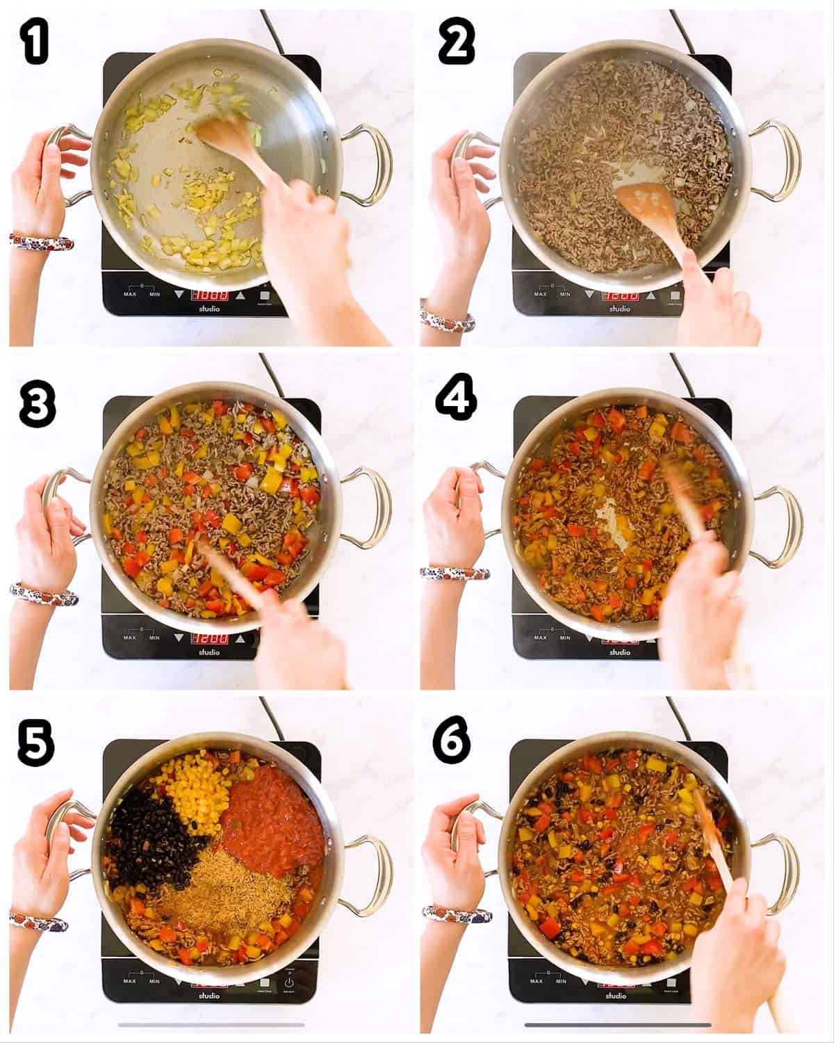 collage of step by step photos to make beef and rice