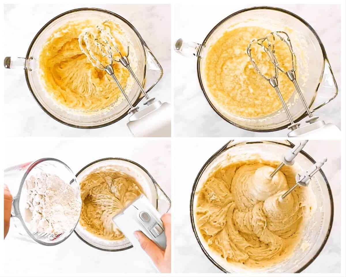 photo collage to show how to make cake batter for rhubarb coffee cake