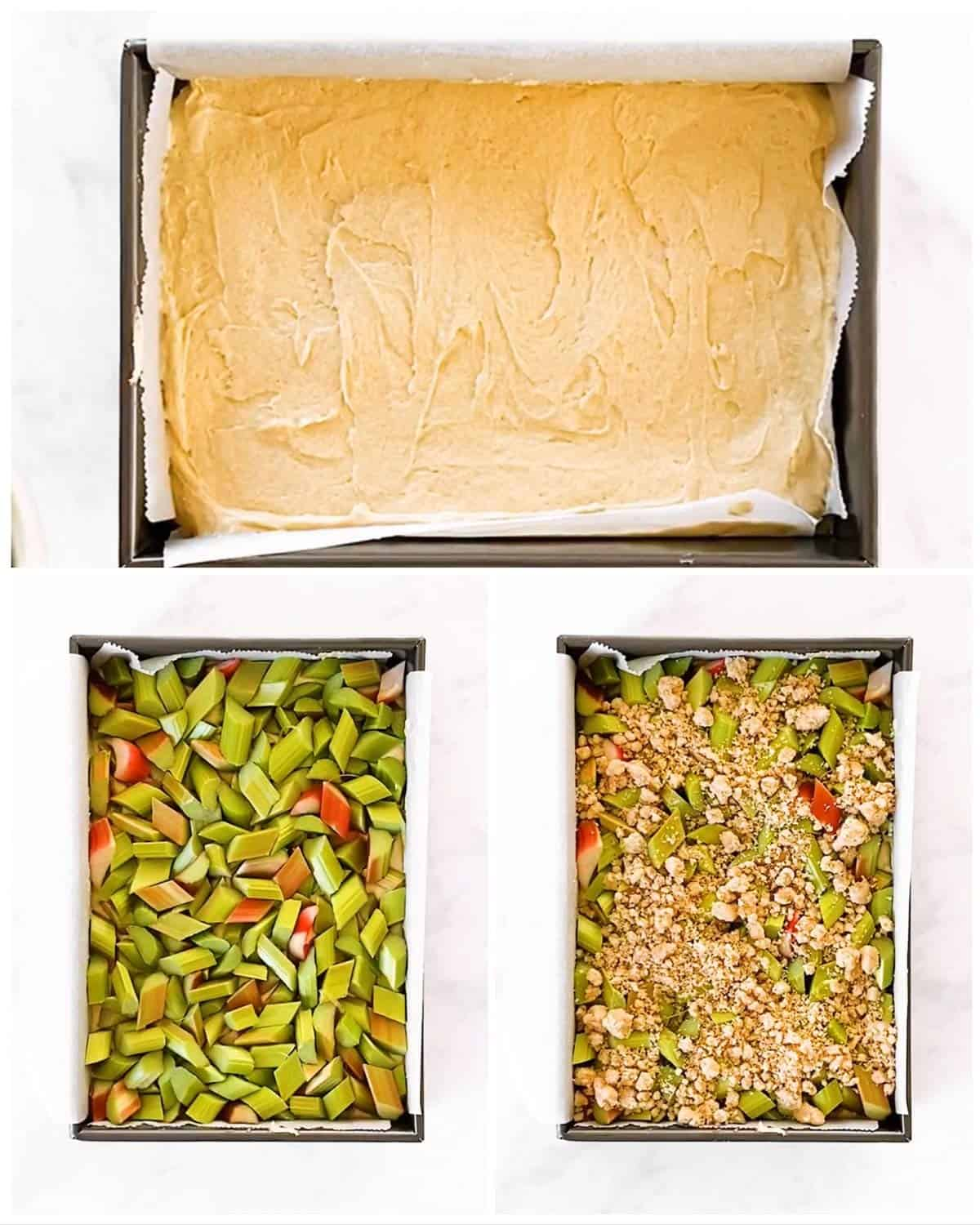 photo collage to show how to assemble a rhubarb coffee cake