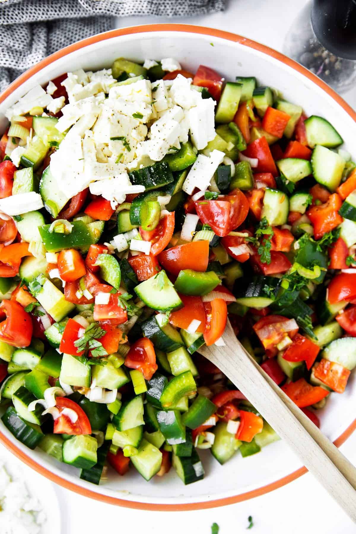 top down view on a salad bowl with shopska salad