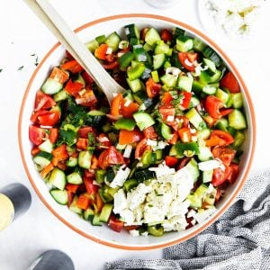 salad bowl with shopska salad from the top down