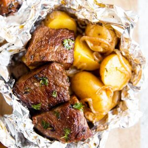 close up photo of steak foil packet