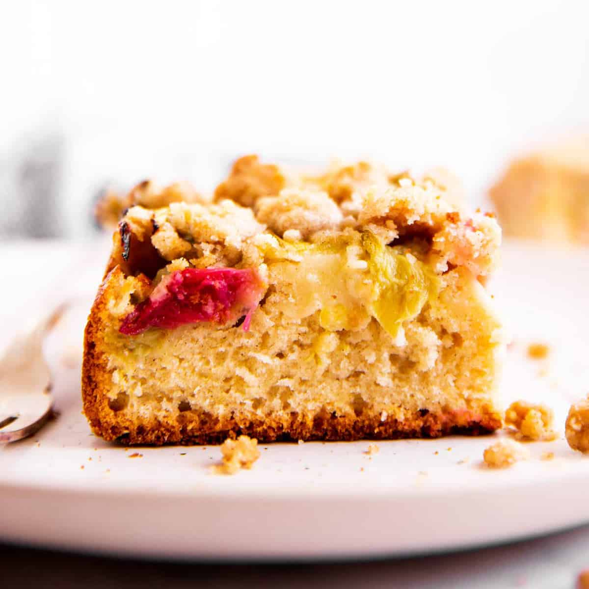 frontal view of rhubarb coffee cake slice on plate