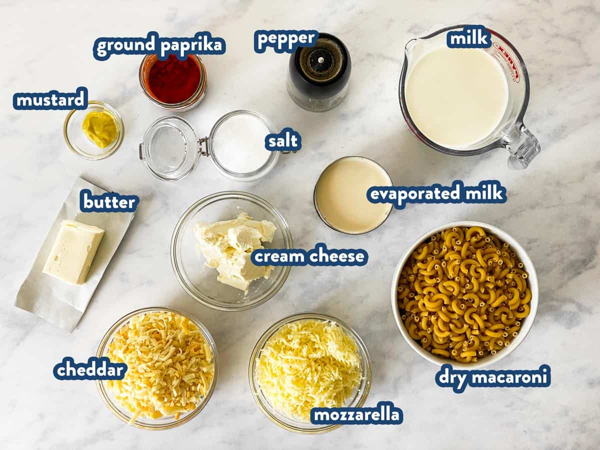 ingredients for slow cooker Mac and cheese with text labels